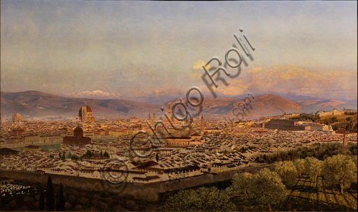 """""""View of Florence from Bellosguardo"""",  (1863)  by John Brett (1831 - 1902);  oil painting on canvas. In the background Fiesole e the Appennines."""