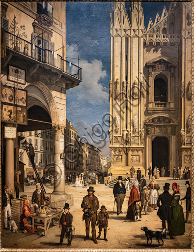"""Angelo Inganni: """"View of Duomo with the Coperto of Figini"""", oil painting, 1838."""