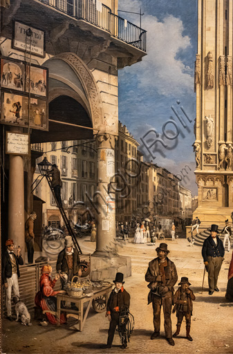 """Angelo Inganni: """"View of Duomo with the Coperto of Figini"""", oil painting, 1838. Detail."""