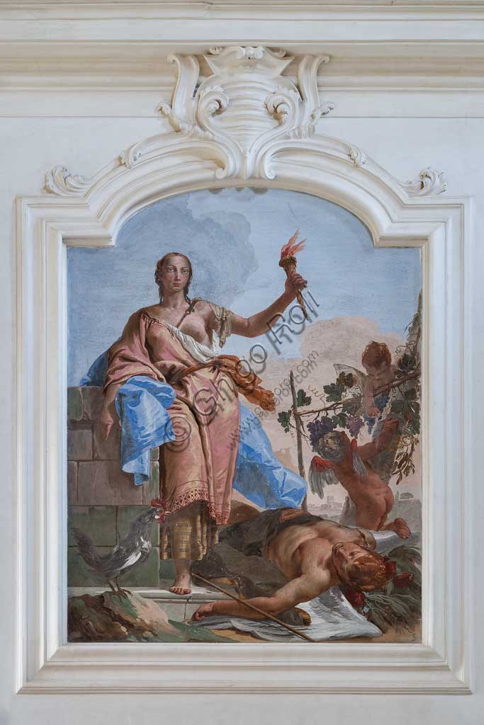 "Villa Loschi  Motterle (formerly Zileri e Dal Verme), the hall of honour: ""Wakefulness triumphing on Sleep "", allegorical fresco by Giambattista Tiepolo (1734)."