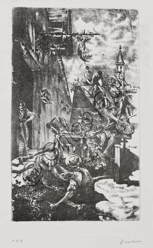 """Collezione Assicoop - Unipol,inv. n° 439: Remo Zanerini (1923 -), """"Vendemmia"""". Litografia."""
