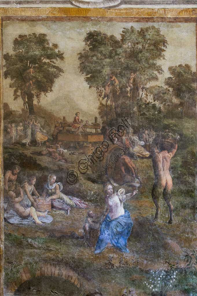 "Ferrara, Castello Estense (the Estense Castle), also known as Castle of St. Michael, Camerino dei Baccanali, wanted by Alfonso d'Este : ""Harvest"", fresco with a Bacchic theme, by the Filippi workshop."