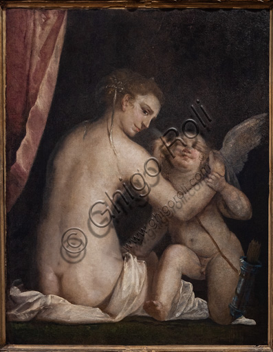 "Fontanellato, Labirinto della Masone, Franco Maria Ricci Art Collection: ""Venus blindfolding Cupid"", by Luca Cambiaso, oil painting."