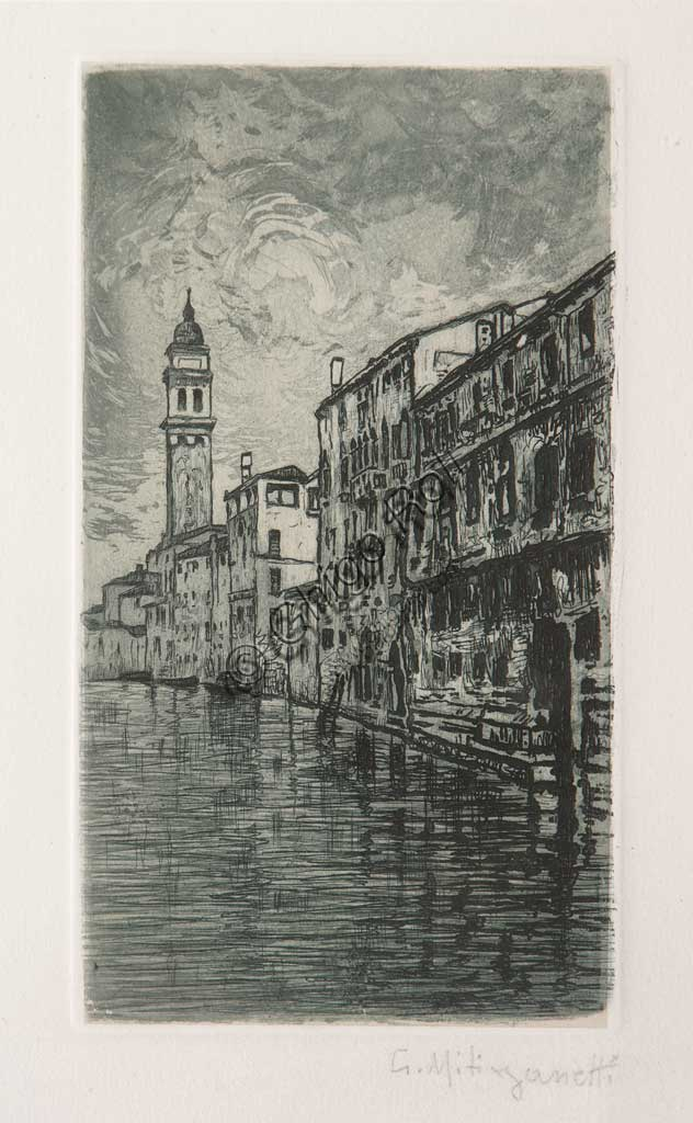 "Assicoop - Unipol Collection: ""Venice"", etching and aquatint on white paper, by Giuseppe Miti Zanetti (1859 - 1929)."
