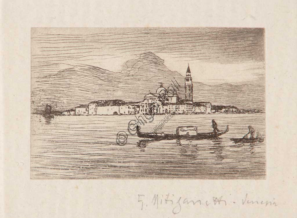 "Assicoop - Unipol Collection: ""Venice"", etching  on white paper, by Giuseppe Miti Zanetti (1859 - 1929)."