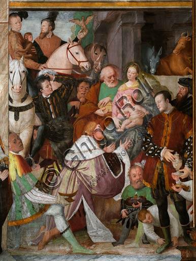 Vercelli, chiesa di San Cristoforo, cappella della Beata Vergine (o dell' Assunta):  l'Adorazione dei Magi.  Affresco di Gaudenzio Ferrari,  1529 - 1534.