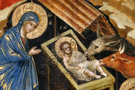 Belgrado, Museo Nazionale di Serbia: Paolo e/o Lorenzo Veneziano, Natività. Particolare con la Vergine Maria, il Bambin Gesù, il Bue e l'asino.Tempera, olio e oro su tavola cm 68 x 55.