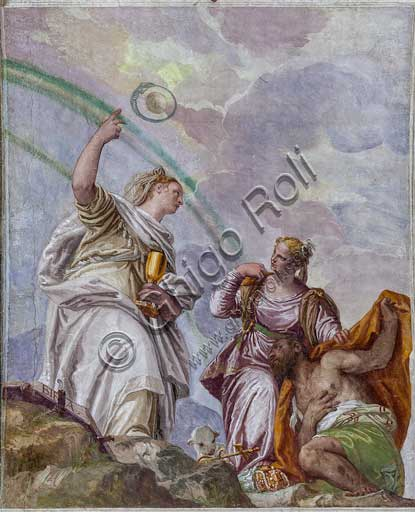 """Maser, Villa Barbaro, The Room of the Oil Lamp, ceiling : God is among the clouds. Faith, who is holding a chalice and has a Bible at her feet, shows the road to Eternity to Charity. Charity is leading the Sinner and treading precious necklaces. Frescoes by Paolo Caliari, known as """"il Veronese"""", 1560 - 1561."""