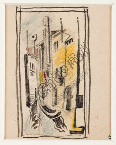 "Assicoop - Unipol Collection: Enrico Prampolini (1894 - 1956), ""Venetian Verticalisms (1)"". Pastel on paper."