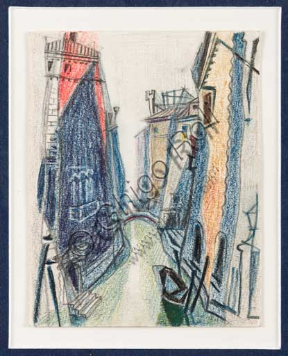 "Assicoop - Unipol Collection: Enrico Prampolini (1894 - 1956), ""Venetian Verticalisms (2)"". Pastel on paper."