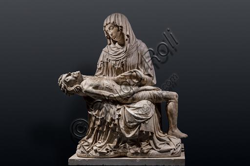 """""""Vesperbild"""" (Pietà), scultura in alabastro, della cerchia del Maestro di Rimini, 1430 circa."""