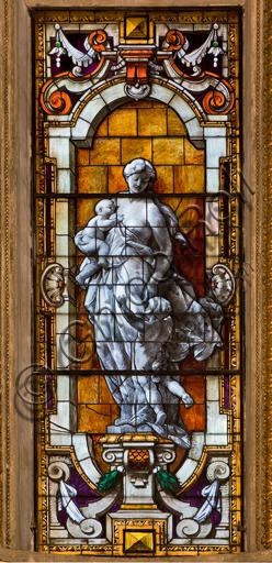 """Genova, Duomo (Cattedrale di S. Lorenzo), interno, Cappella Lercari o del Santissimo Sacramento (abside settentrionale): """"vetrata""""."""