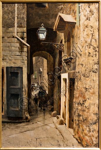 """Telemaco Signorini: """"Cavalieri Street in the Old  Ghetto of Florence"""", about 1882, oil painting on canvas."""