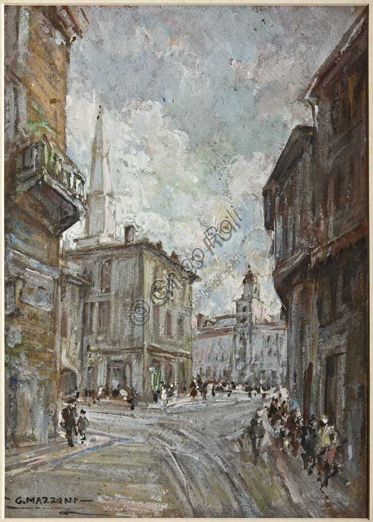 "Assicoop - Unipol Collection: Giuseppe Mazzoni, ""Duomo Street in Modena""; pastel on cardboard."