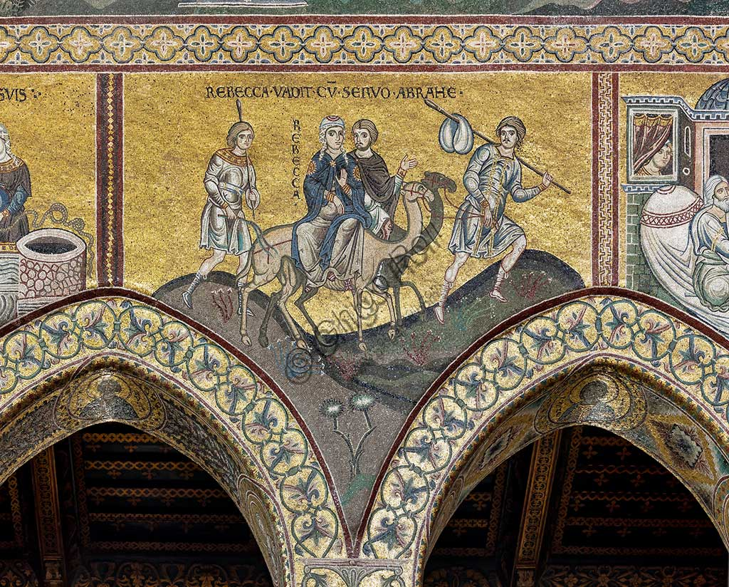 "Monreale, Duomo: ""Rebecca's journey"". Old Testament, Cycle of Abraham. , Byzantine mosaic, Old Testament cycle - Abraham, XII - XIII centuryLatin inscription: ""REBECCA VADIT CUM SERVO ABRAMÆ""."