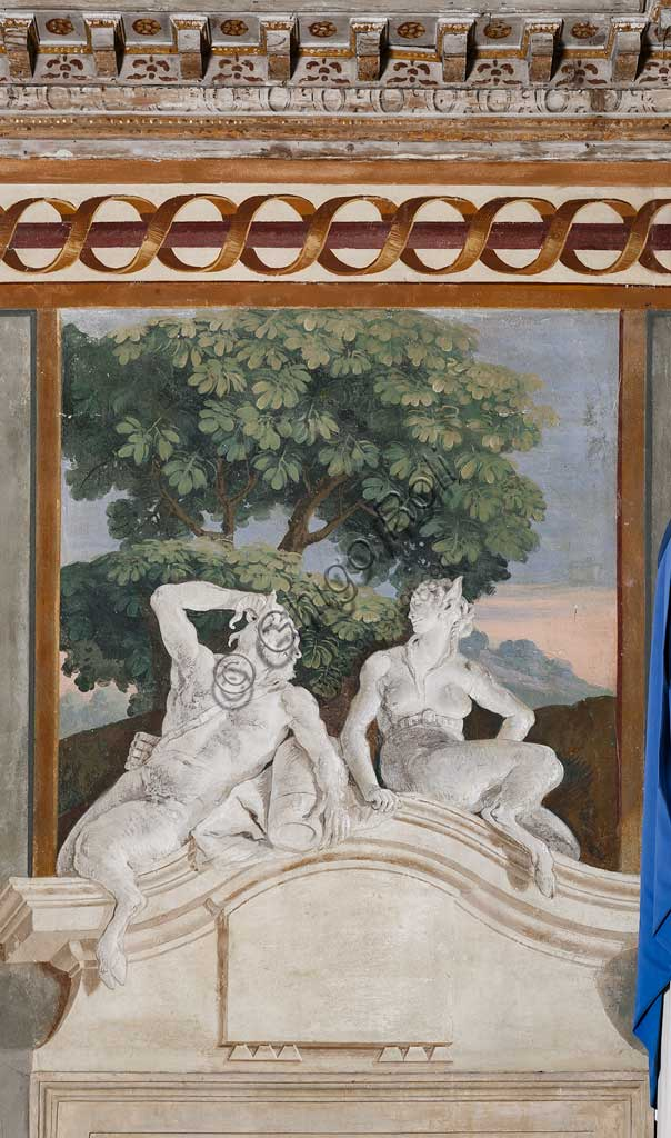 Vicenza, Villa Valmarana ai Nani, Foresteria, Stanza delle Scene Campestri: affresco monocromo con satiro e menade, di Giandomenico Tiepolo, 1757.
