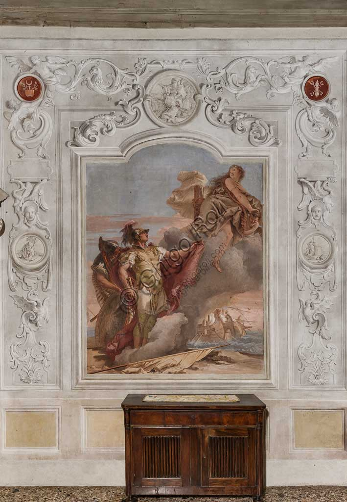 "Vicenza, Villa Valmarana ai Nani, Palazzina (Small Building), the third room or room of the Aeneid:  ""Venus, as a huntress, appears to her son Aeneas and his companion Achates on the beach of Libya, ordering them to go to Dido"". Frescoes by Giambattista Tiepolo, 1756 - 1757."