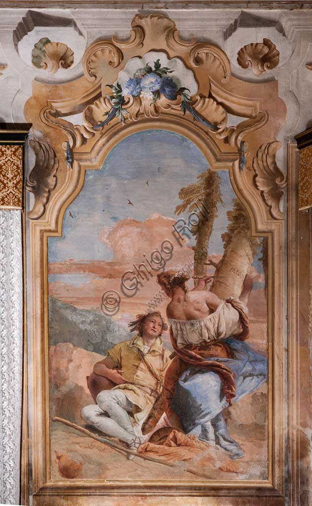 "Vicenza, Villa Valmarana ai Nani, Palazzina (Small Building): second room or room of Ariosto with frescoes representing episodes from ""Orlando Furioso"": ""Angelica and Medoro engrave their names on the bark of the plants"".  Frescoes by Giambattista Tiepolo, 1756 - 1757."