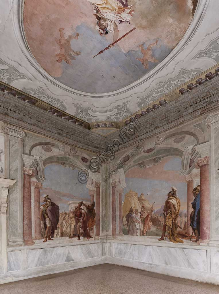 Vicenza, Villa Valmarana ai Nani, Palazzina (Small Building): view of the first room and its frescoes representing episodes from  the Iliad, by Giambattista Tiepolo, 1756 - 1757.