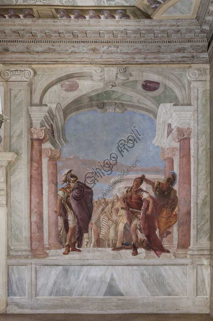 "Vicenza, Villa Valmarana ai Nani, Palazzina (Small Building): view of the first room and its frescoes representing episodes from  the Iliad: ""Athena prevents Achilles from drawing his sword against Agamemnon"".  Frescoes by Giambattista Tiepolo, 1756 - 1757."