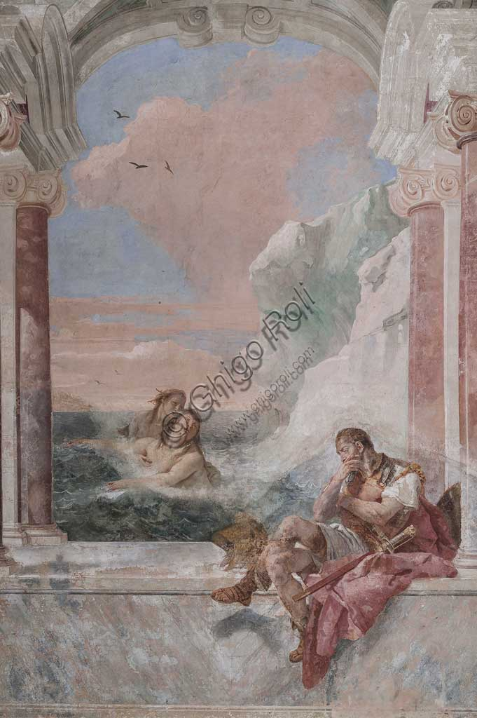 "Vicenza, Villa Valmarana ai Nani, Palazzina (Small Building): view of the first room and its frescoes representing episodes from  the Iliad: ""Achilles in tears while his mother Thetis emerges from the sea to console him"".  Frescoes by Giambattista Tiepolo, 1756 - 1757."