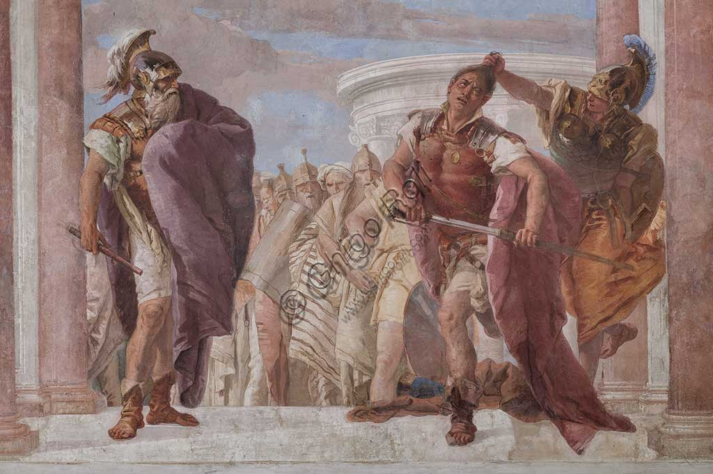 "Vicenza, Villa Valmarana ai Nani, Palazzina (Small Building): view of the first room and its frescoes representing episodes from  the Iliad: ""Athena prevents Achilles from drawing his sword against Agamemnon"".  Frescoes by Giambattista Tiepolo, 1756 - 1757. Detail."