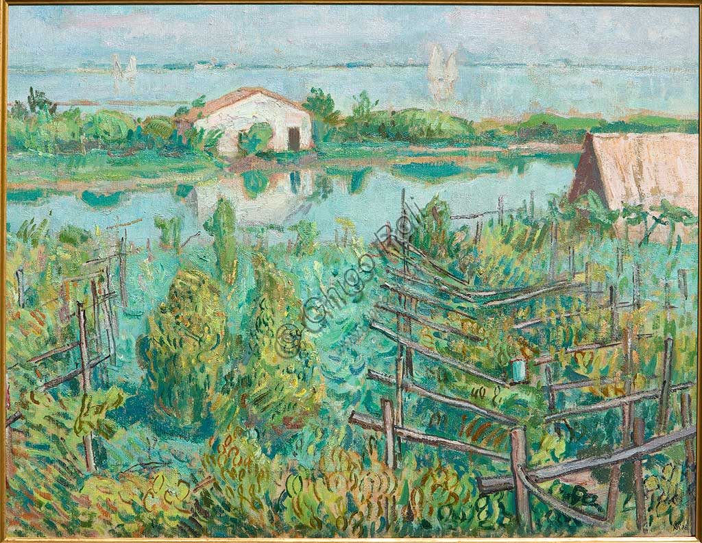 """Assicoop - Unipol Collection: Mario Vellani Marchi (1895-1979), """"Vineyard in Autumn - Torcello"""". Oil on canvas, cm. 53x68."""