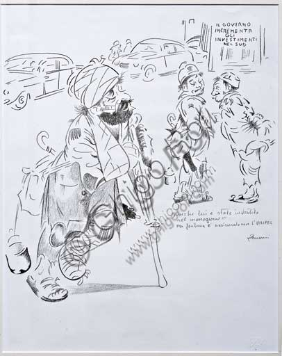 "Assicoop - Unipol Collection:Remo Zanerini, ""Unipol Cartoon"". Pencil Drawing, cm 48 X 38."