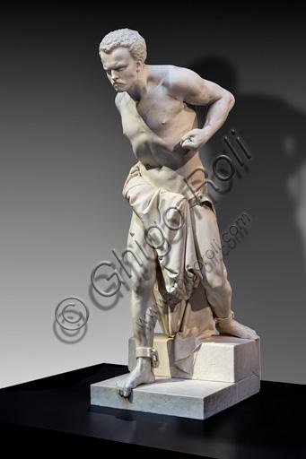 """Vincenzo Vela: """"Spartacus"""", marble sculpture, 1850."""