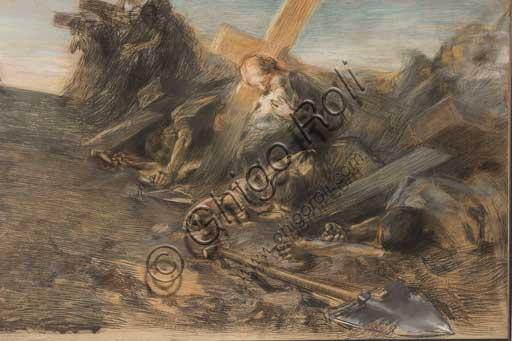 """Collezione Assicoop - Unipol:Giuseppe Mentessi (Ferrara, 1857 – Milano, 1931); """"Visione triste"""" (1899, tecnica mista)."""