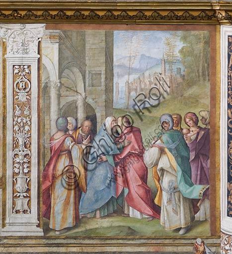 """Cremona, Duomo (Cattedrale di S. Maria Assunta), interno,   navata mediana, terzo arcone: """"Visitazione"""", affresco di Boccaccio Boccaccino, 1514-15."""