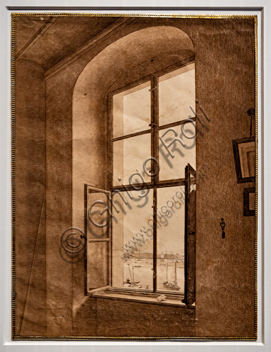 """Caspar David Friedrich, """"View from the artist's studio, window on the left"""", 1805-6, graphite and sepia on paper."""