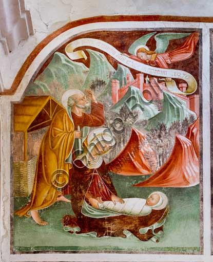 """Clusone, Oratorio dei Disciplini o di San Bernardino, interno, affreschi sulla """"Vita di Gesù"""" (1471),  dell'artista clusonese Giacomo Borlone De Buschis: La Natività."""