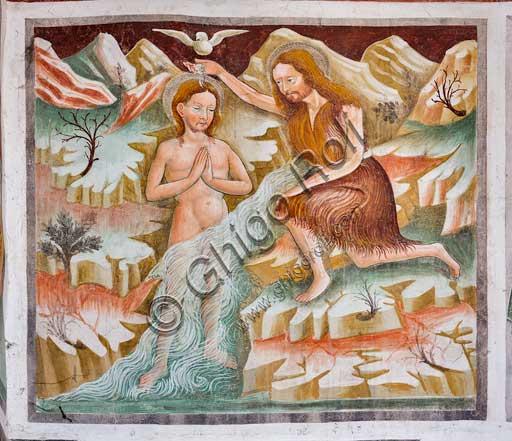 Clusone, Oratory of Disciplini or St. Bernardino, interior, frescoes representing the life of Jesus (1471), by Giacomo Borlone De Buschis: St. John the Baptist baptizes Jesus in the Jordan river. The Holy Spirit descend as a dove.