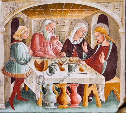 """Clusone, Oratorio dei Disciplini o di San Bernardino, interno, affreschi sulla """"Vita di Gesù"""" (1471),  dell'artista clusonese Giacomo Borlone De Buschis: Le nozze di Cana."""