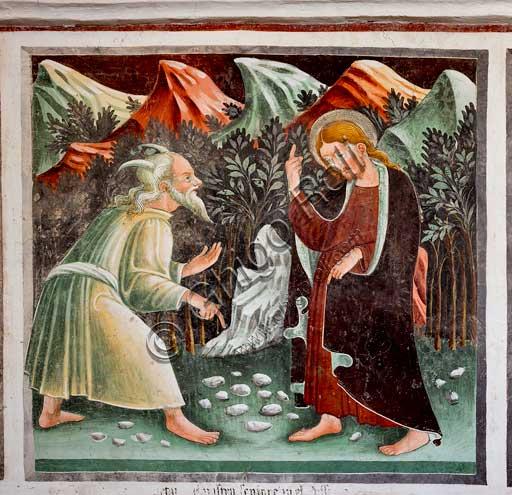 """Clusone, Oratorio dei Disciplini o di San Bernardino, interno, affreschi sulla """"Vita di Gesù"""" (1471),  dell'artista clusonese Giacomo Borlone De Buschis: Le tentazioni di Gesù."""