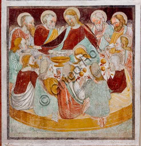 """Clusone, Oratorio dei Disciplini o di San Bernardino, interno, affreschi sulla """"Vita di Gesù"""" (1471),  dell'artista clusonese Giacomo Borlone De Buschis: L'ultima Cena."""
