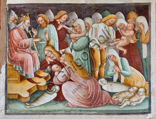 """Clusone, Oratorio dei Disciplini o di San Bernardino, interno, affreschi sulla """"Vita di Gesù"""" (1471),  dell'artista clusonese Giacomo Borlone De Buschis: Erode e la Strage degli Innocenti."""
