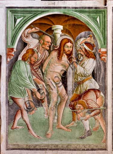Clusone, Oratory of Disciplini or St. Bernardino, interior, frescoes representing the life of Jesus (1471), by Giacomo Borlone De Buschis:  The Flagellation.