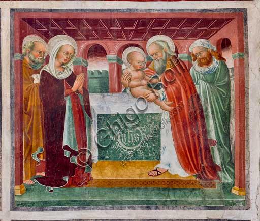 """Oratorio dei Disciplini o di San Bernardino, interno: affresco del 1471 del ciclo """"Vita di Ges?"""", dell'artista clusonese Giacomo Borlone de Buschis.La Presentazione di Gesù al Tempio."""