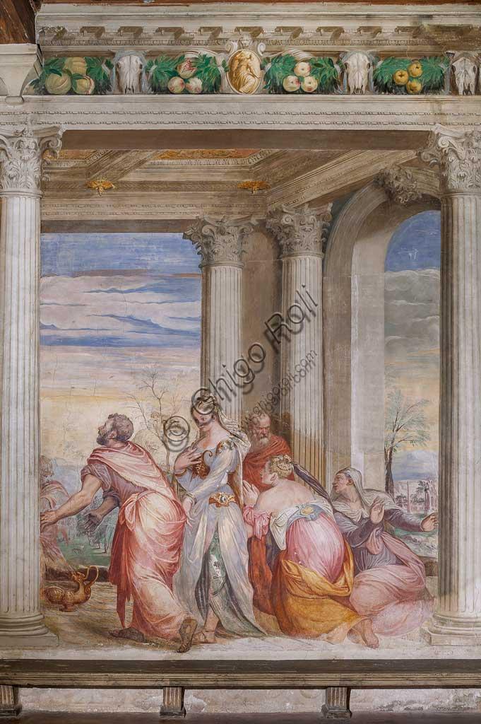 """Thiene, Villa Porto Colleoni (also known as Castle in Thiene), Camerone: """"The Banquet of Cleopatra"""", frescoes by Giovanni Antonio Fasolo (c. 1560-1565). Detail."""