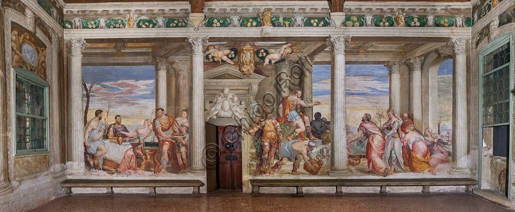 """Thiene, Villa Porto Colleoni (also known as Castle in Thiene), Camerone: """"The Banquet of Cleopatra"""", frescoes by Giovanni Antonio Fasolo (c. 1560-1565)."""