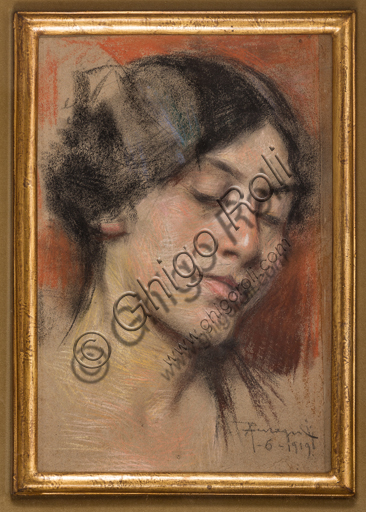 "Assicoop - Unipol Collection: Arnaldo Ferraguti (Ferrara 1862 - 1925), ""Face of a Yong Girl"", pastel on cardboard."
