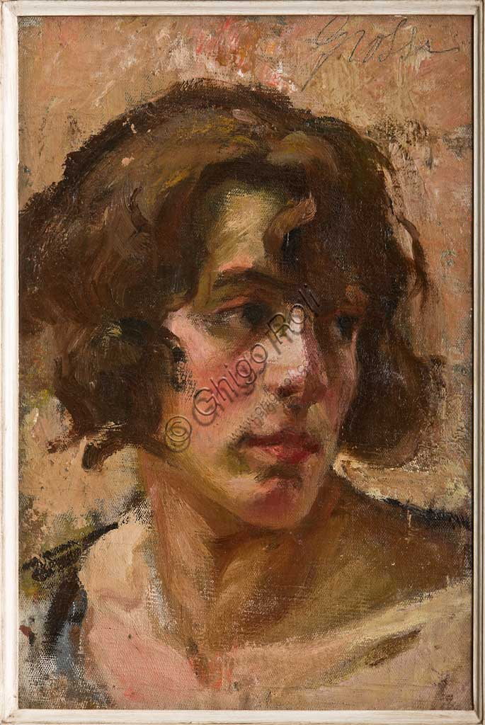 "Assicoop - Unipol Collection: Carlo Grossi;""Girl's Face""; oil on canvas."