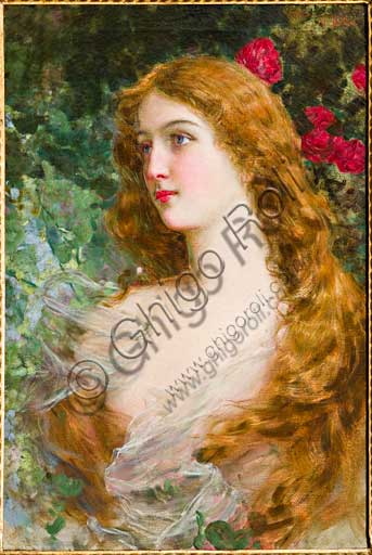 "Assicoop - Unipol Collection:  Gaetano Bellei (1857 - 1922), ""Girl's face"". Oil on canvas, cm 74,5 x 50,5."