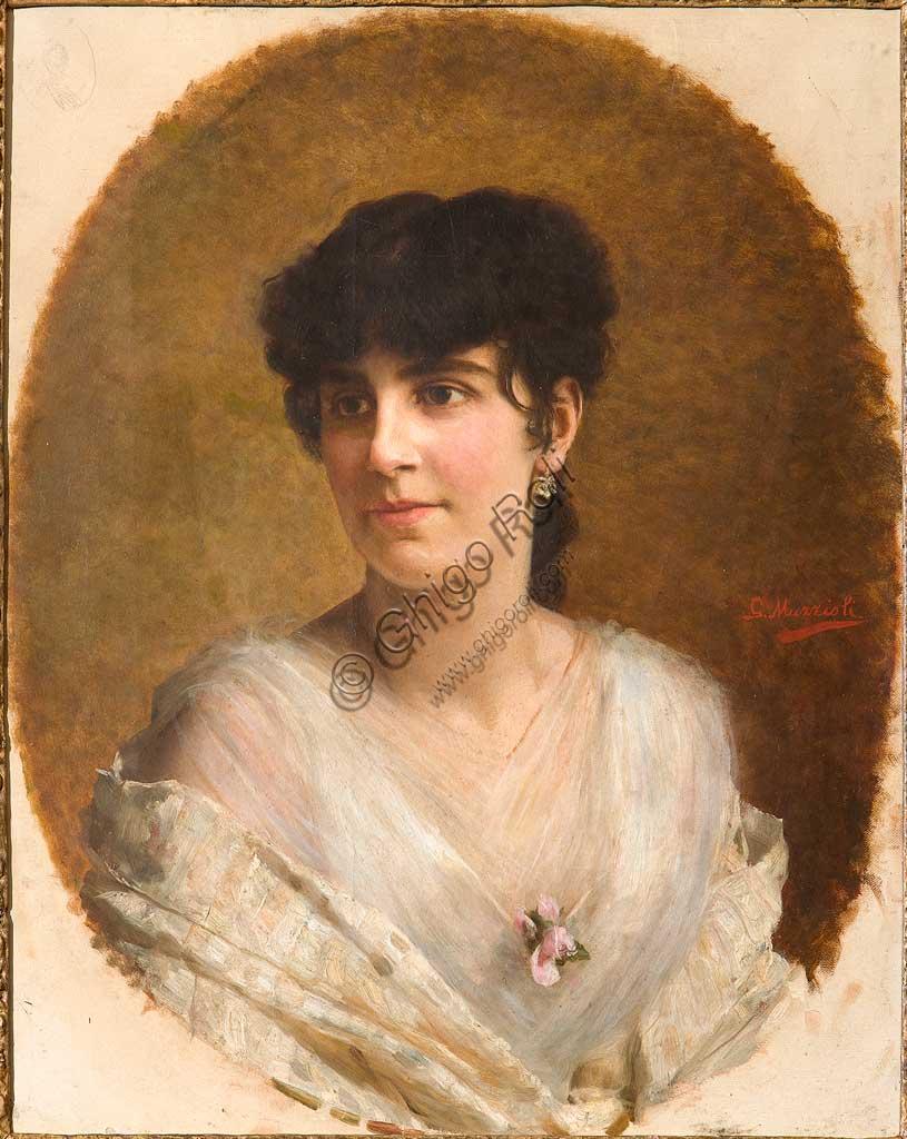 """Collezione Assicoop - Unipol: Giovanni Muzzioli (1854-1894), """"Volto di Ragazza"""". Olio su tela, cm. 68x53."""