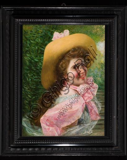 """Gaetano Bellei, (1857-1922): """"Volto di ragazza"""" ; olio su tela, cm. 68 × 50."""