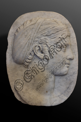 """Spoleto, Rocca Albornoz (Stronghold), National Museum of The Dukedom of Spoleto:""""Female Face"""", by Southern Italy sculptor, white marble, XIII century."""