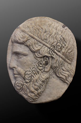 """Spoleto, Rocca Albornoz (Stronghold), National Museum of The Dukedom of Spoleto:""""Male Face"""", by Southern Italy sculptor, white marble, XIII century."""