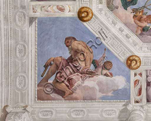 "Maser, Villa Barbaro, the Hall of Olympus, the vault, detail: ""Vulcan, or the Fire"". Fresco by Paolo Caliari, known as il Veronese, 1560 - 1561."